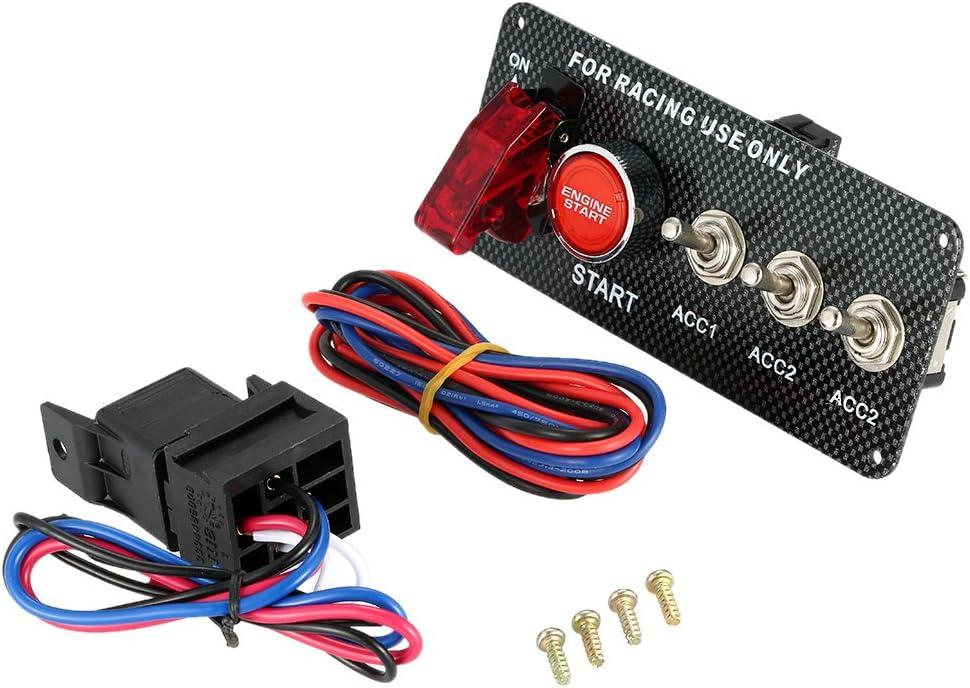 KKmoon 12V Interruptor de Inicio Tipo Coche Carreras Motor de Comienzo Botón Pulsador 3 Panel Palanca con Luz Indicadora