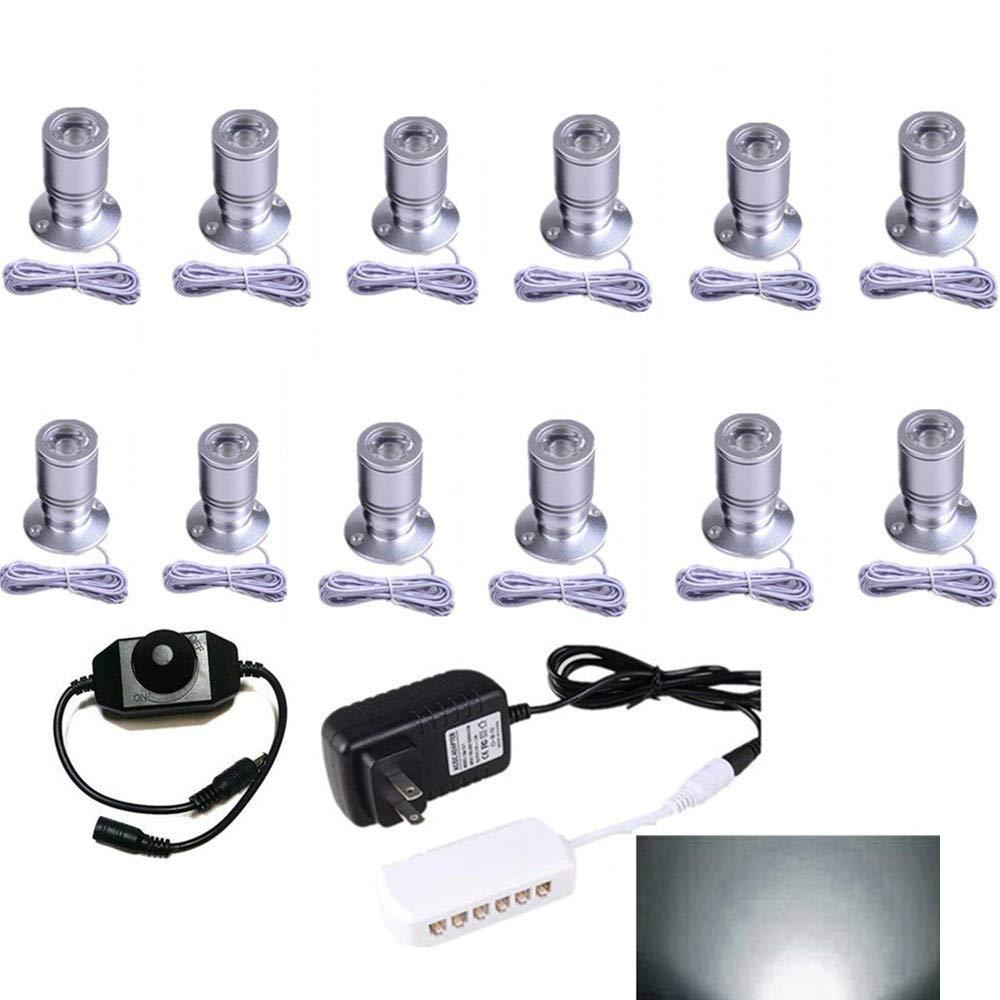LED1.5W 12VDC Mini Spotlight kit - 100LM Mini spotlightJewelry Showcase Display Lighting,6000k White,for Jewelry Counter, Light Showcase Light, Counter Spotlight Set of 12