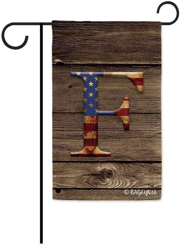 BAGEYOU US Flag Decorative Monogram F Patriotic Garden Flag Initial Letter Wooden Banner for Outside 12.5X18 Inch Printed Double Sided