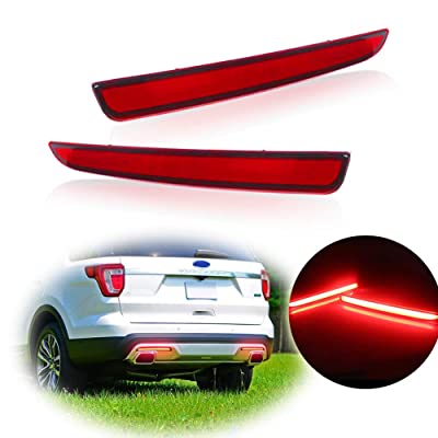 TurningMax Full LED Red Lens Bumper Reflector Rear Fog Lights For 2016 2020 Ford Explorer: Automotive
