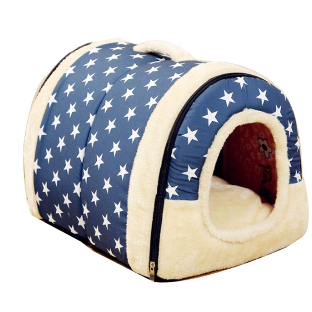 Makan Pet Dog Cat Bed Room Warm Padded Bedding Dual-use Nest Detachable Kennel Kennel Portable Pet House Cat House Pet Nest (color   bluee, Size   45  35cm)