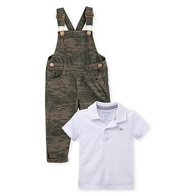 16a800543 OFFCORSS Baby Toddler Boy Overall Pique Polo Shirt Set Green White