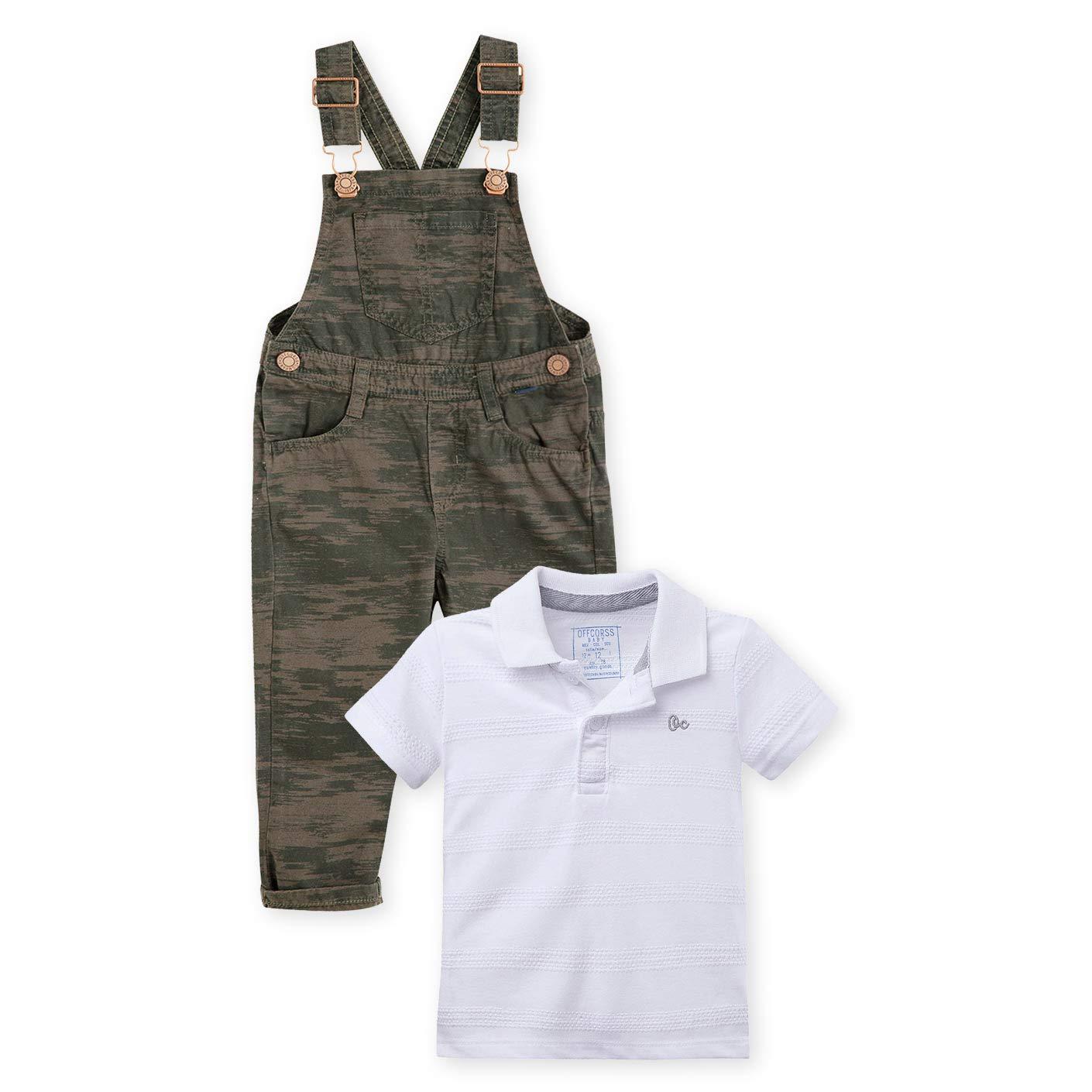 OFFCORSS Baby Toddler Boy Overall Pique Polo Shirt Set Green White