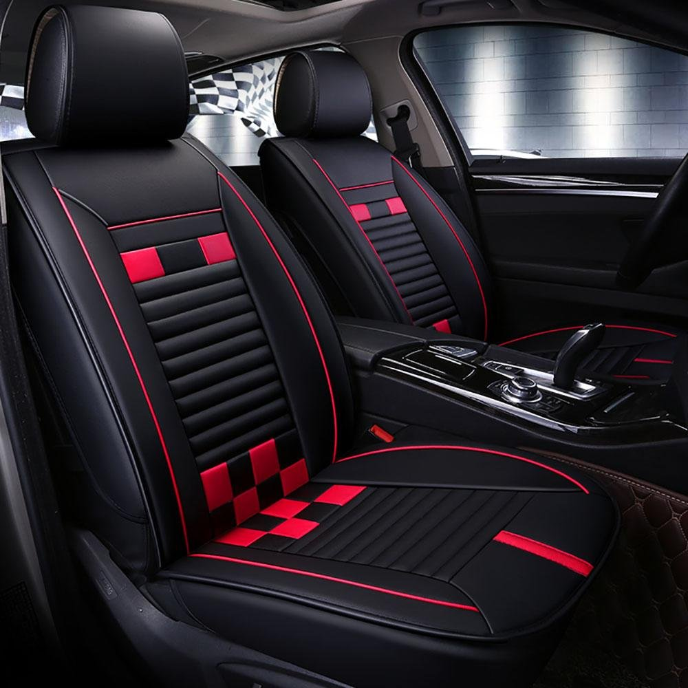 CAR Pvc Leather Universal Car Seat Covers Full Set Seat Covers , red