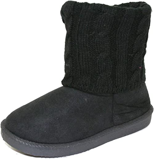 Black Faux Suede Faux Fur Cute Booties Toddlers Kids Girls Winter Boots Size 3