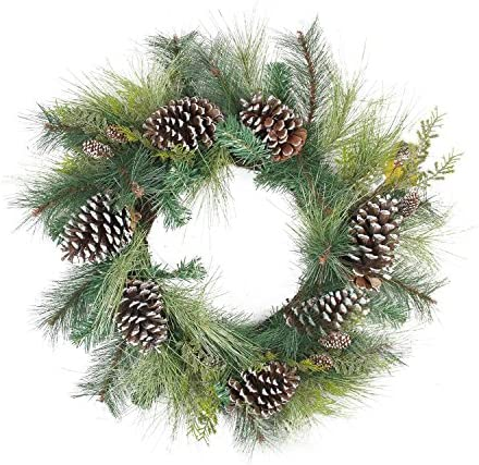 Northlight Mixed Long Needle Pine Cone Artificial Christmas Wreath Unlit 28 Green Home Kitchen