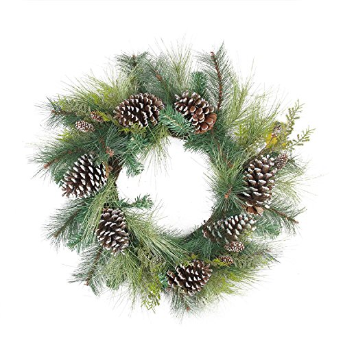 (Northlight Mixed Long Needle Pine Cone Artificial Christmas Wreath-Unlit, 28