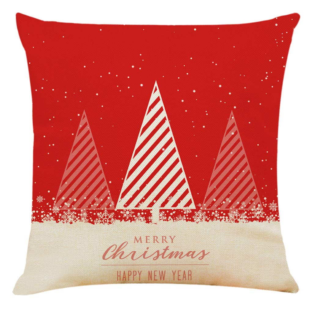 CCOOfhhc Merry Christmas Throw Pillow Cover,Red Solid Super Soft Velvet Sofa Pillow Covers, Santa Xmas Deer,Gifts Box,Snowflake 3D Painting Cushion Case Decoration for Sofa, Couch, Bed and Car,F