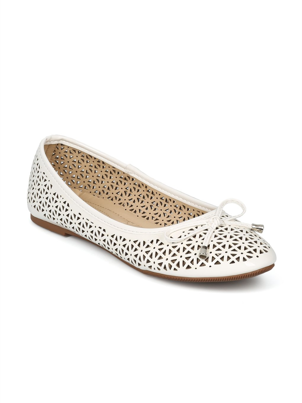 Alrisco Women Round Toe Bow Tie Perforated Ballet Flat HH88 B07D47KLSN 10 B(M) US|White Patent