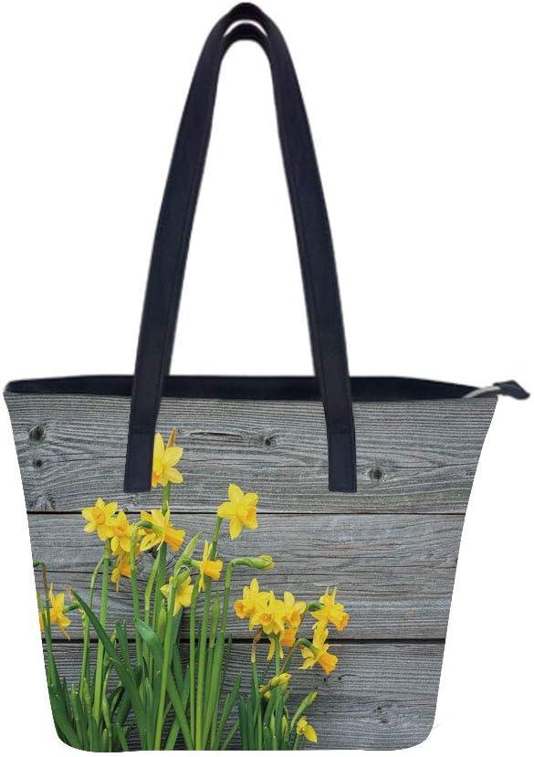 Yellow Flower Bouquet Wood Women Leather Laptop Tote Office Shoulder Handbag Computer Briefcase