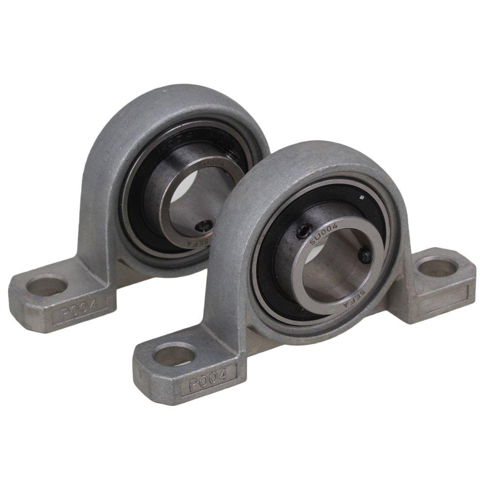 BQLZR Grigio In lega di zinco 20mm Alesaggio Diametro cuscinetto a sfera Cuscinetto montato su supporto macchina Assale autoregolabile Confezione da 2 BQLZRN09540