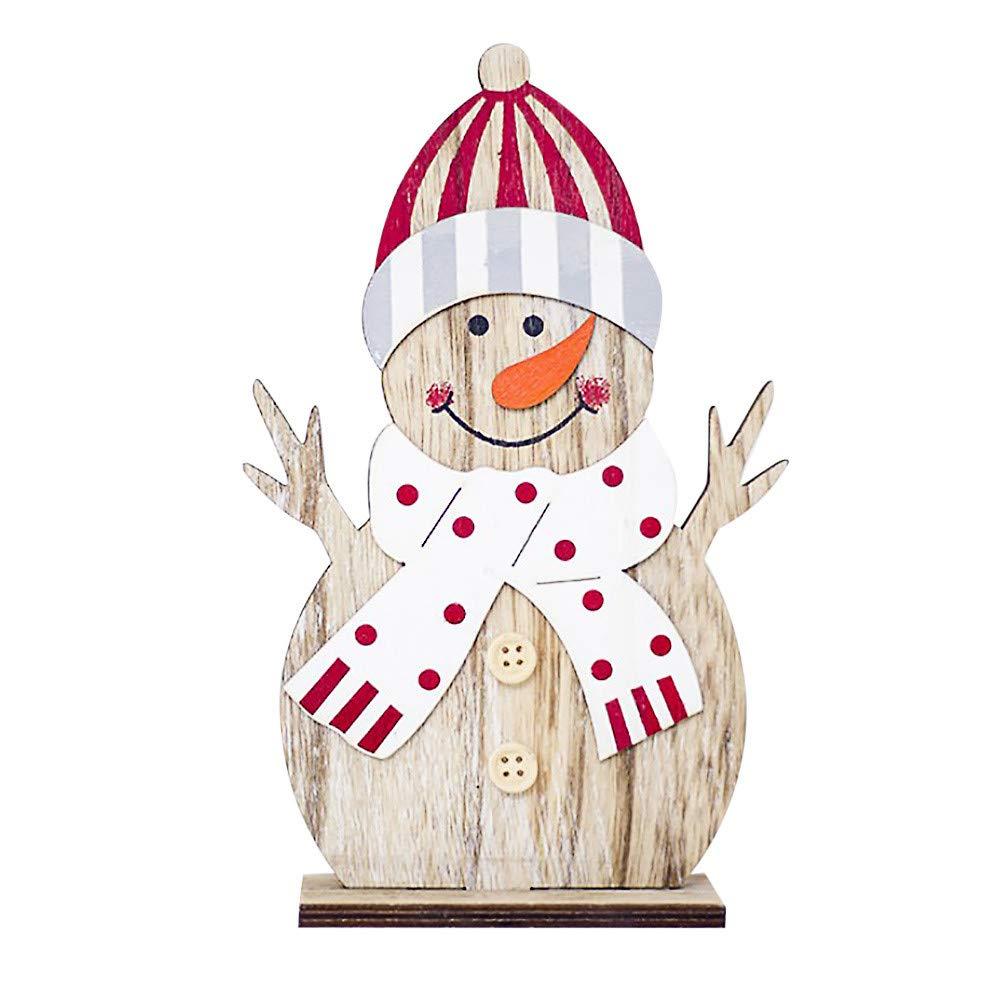 Yaida_❤️Home Decor Yaida Snowman Christmas Decorations Wooden Shapes Ornaments Craft Xmas Gifts (A)