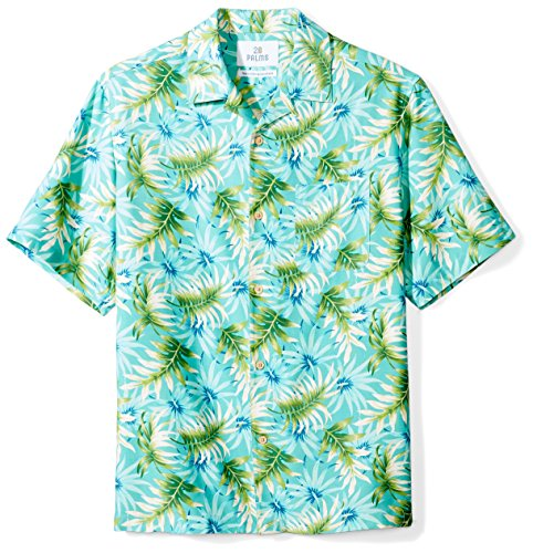28 Palms Men's Relaxed-Fit 100% Silk Hawaiian Shirt, Aqua/Green Palm Leaf, - Fitted Leaf Spring