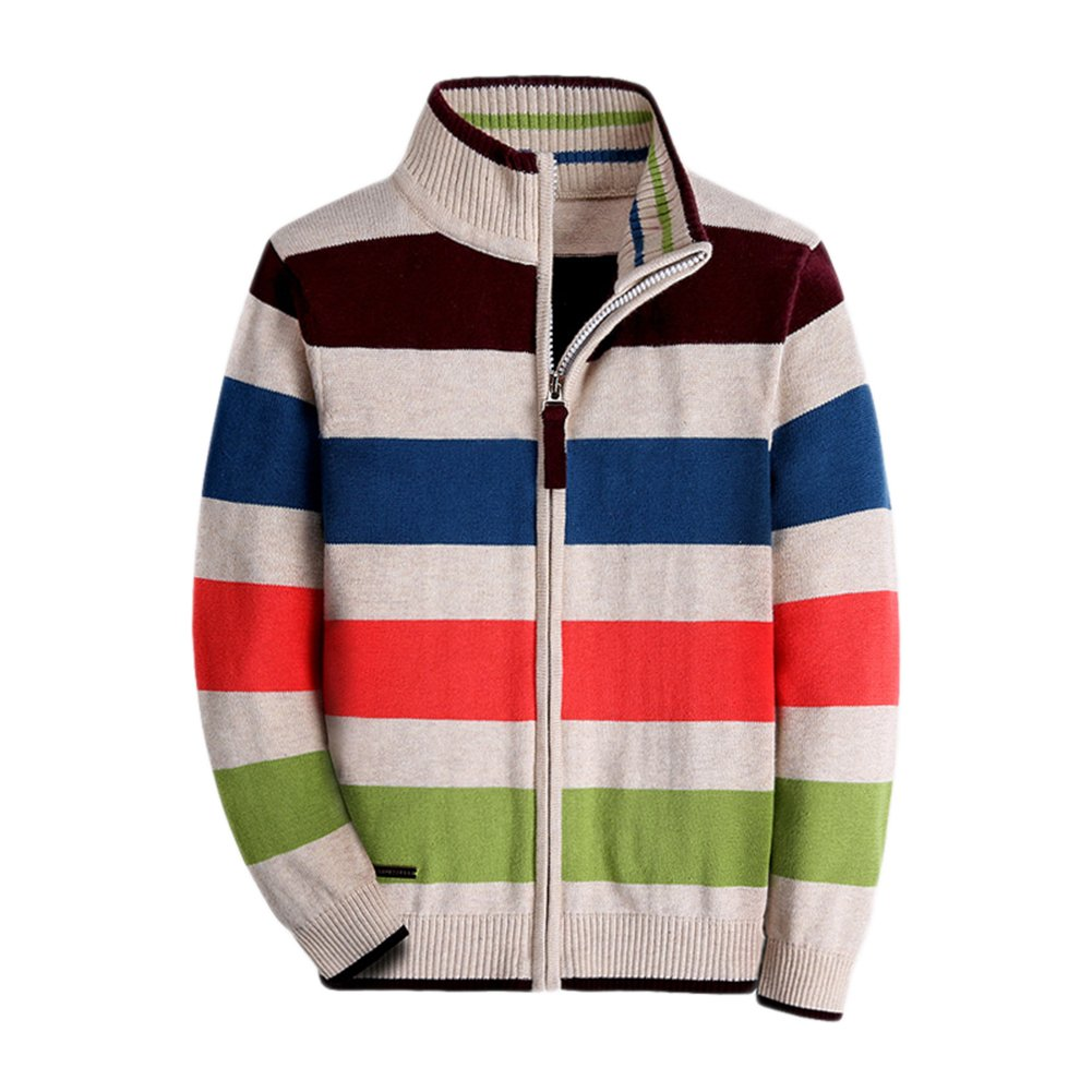 Boy Striped Sweater Cardigan – Zipper Up Closure Sweater Jacket For Boys Thick Sweater Long-Sleelve 100% Cotton