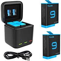 TELESIN GoPro Hero10 9 Battery (2 Pack) and Type-C Cable USB Rapid Charger with 3 Channel for GoPro Hero 9 Black,Perfect…