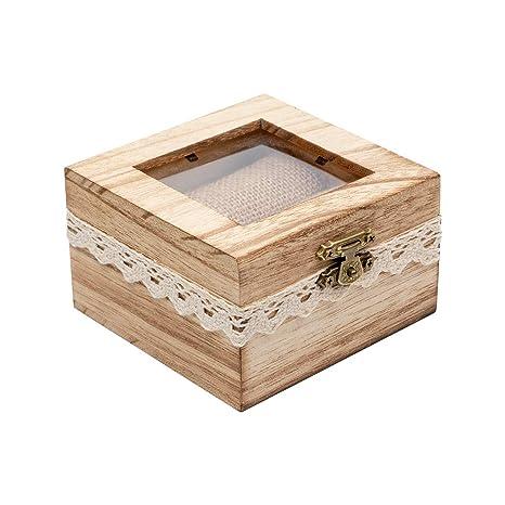 Amazon.com: Senover Caja de madera para anillo de boda ...
