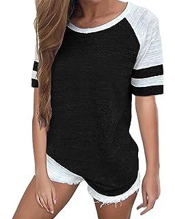 feb998be BUYCHEY Womens Baseball Tee Short Sleeve Shirt Crew Neck T-Shirt Summer Tops  Tunics Casual