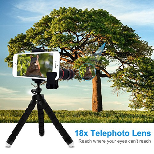 Cell Phone Telephoto Lens, Avanz 2018 Upgraded 18x Zoom Telephoto Lens with Mini Tripod & Universal Clip & Phone Holder, Zoom Lens for iPhone X/8/7/6S/SE, Samsung, iPad, Smartphones by Avanz (Image #5)