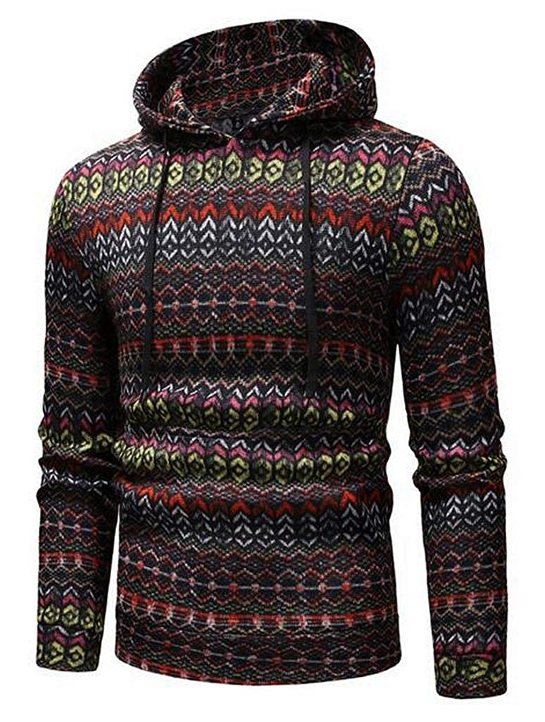 WAWAYA Mens African Print Running Regular Fit Casual Pullover Hooded Sweatshirt