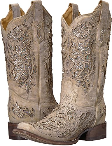 CORRAL Women's White Glitter and Crystals Cowgirl Boot Square Toe White 8.5 (Leather Inlay Cowgirl Boots)