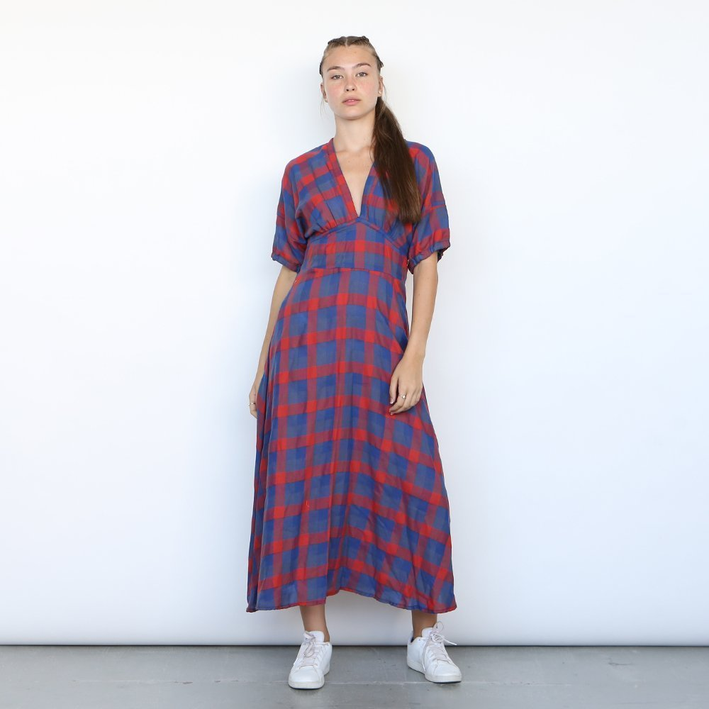 Plaided Maxi Dress, Blue Plaid dress , RED Maxi Dress.