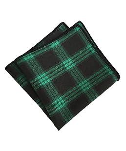 MENDENG Men's Green Black Plaid Stripe Pocket Square Party Hanky Handkerchief