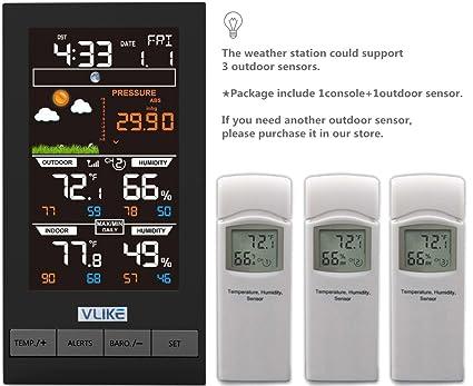 VLIKE transmisor inalámbrico de la estación meteorológica del Sensor de Temperatura e higrómetro al Aire Libre para la estación meteorológica de la ...