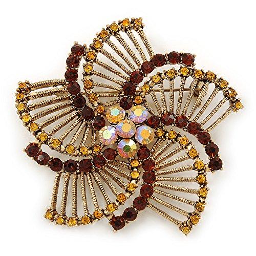 Avalaya Vintage Inspired Topaz/Citrine Crystal Filigree Flower Brooch in Gold Plating - 60mm Diameter