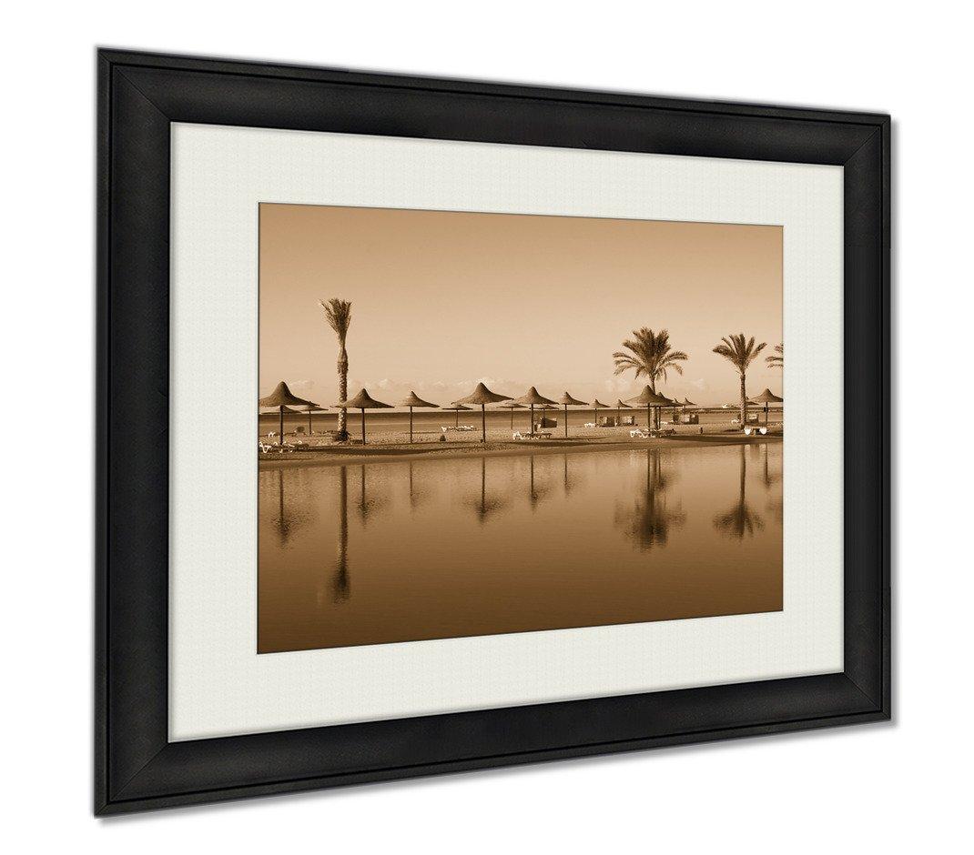 Ashley Framed Prints Beach In Egypt, Wall Art Home Decoration, Sepia, 30x35 (frame size), AG5977981