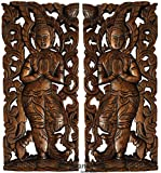 "Sawaddee Wall Sculpture. Thai Wood Wall Art - Asian Carved Wood Wall Decor Size 17.5""x7.5""x1'' Each, Set of 2 Pcs."