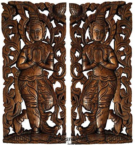 "Sawaddee Wall Sculpture. Thai Wood Wall Art - Asian Carved Wood Wall Decor Size 17.5""x7.5""x1'' Each, Set of 2 Pcs. by Asiana Home Decor"