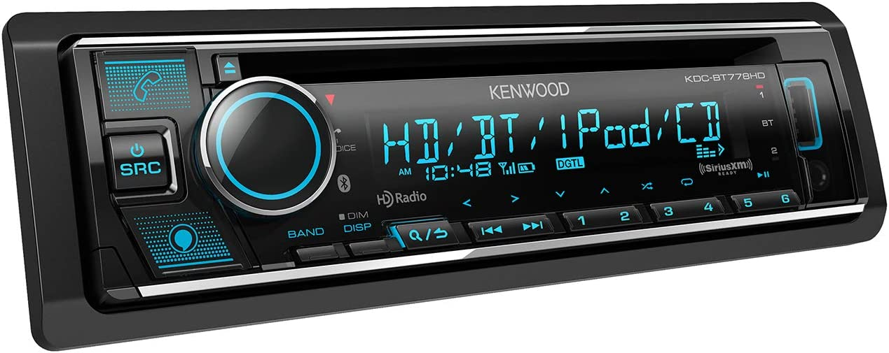 Kenwood KDC-BT778HD Single DIN Bluetooth CD Car Stereo Receiver with Amazon Alexa Voice Control | LCD Text Display | USB & Aux Input