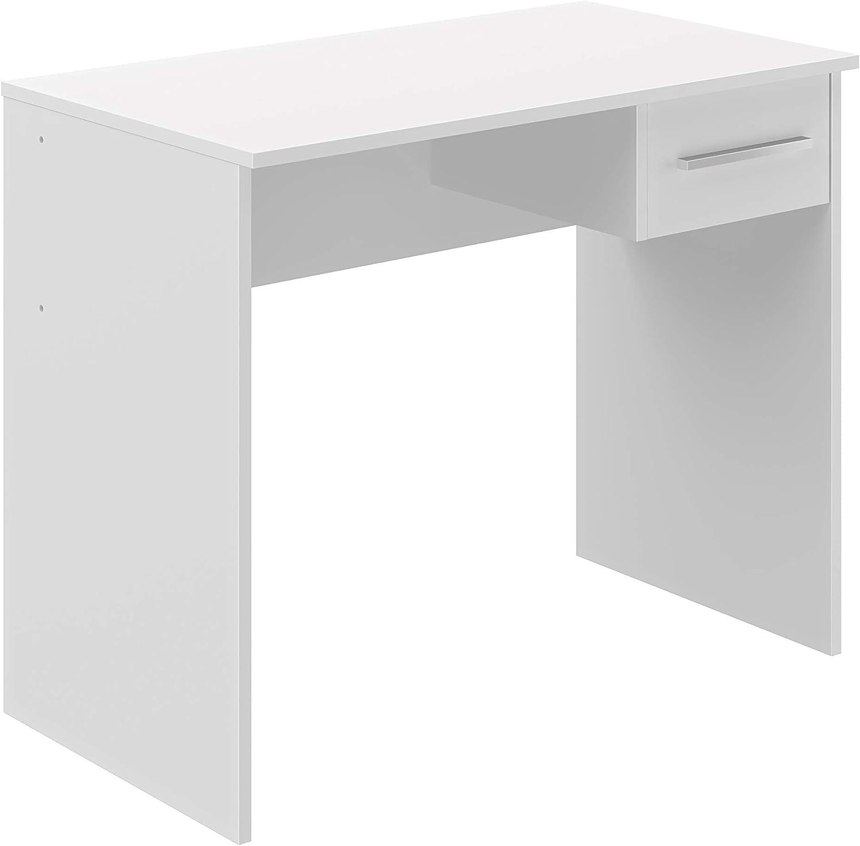 Marca Amazon -Movian Inari Modern - Escritorio con 1 cajón, 50 x 90 x 73 cm (blanco)