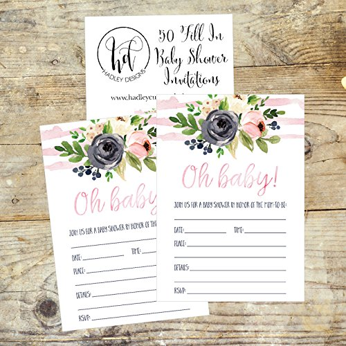 50 Fill in Floral Baby Shower Invitations, Baby Shower Invitations Watercolor, Pink, Neutral, Flower, Blank Baby Shower Invites for girl, Baby Invitation Cards Printable Photo #4