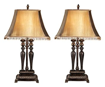 Ashley Furniture Signature Design   Desana Traditional Table Lamp   Set Of  2   Silky Beige