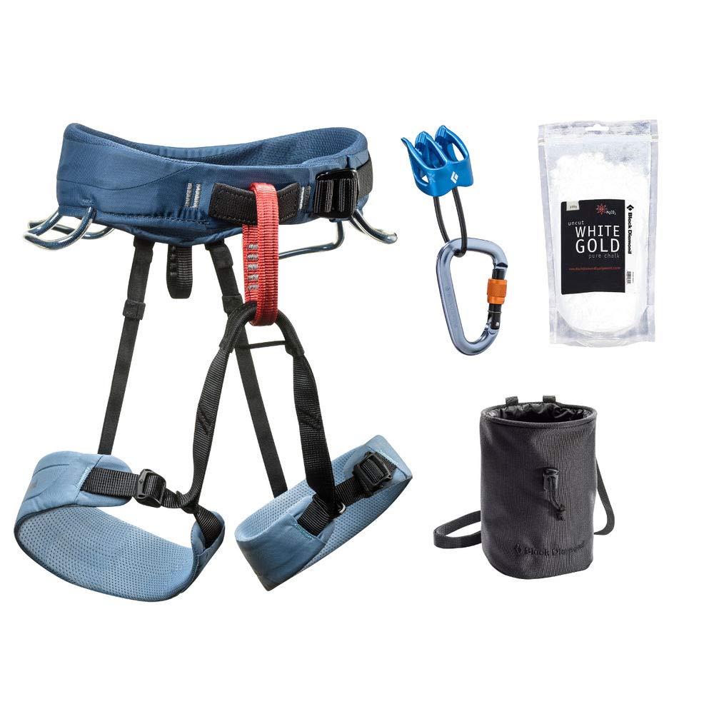 Black Diamond Momentum Climbing Harness Package - Women's Stone Blue Medium
