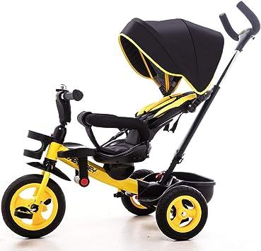 Triciclo para niños, Buggy, para niños Paseo en 3 Ruedas Rueda para pedalear Carrito Seguro Bicicleta de Dosel Manija fácil Dirección (Color : Yellow) : Amazon.es: Juguetes y juegos