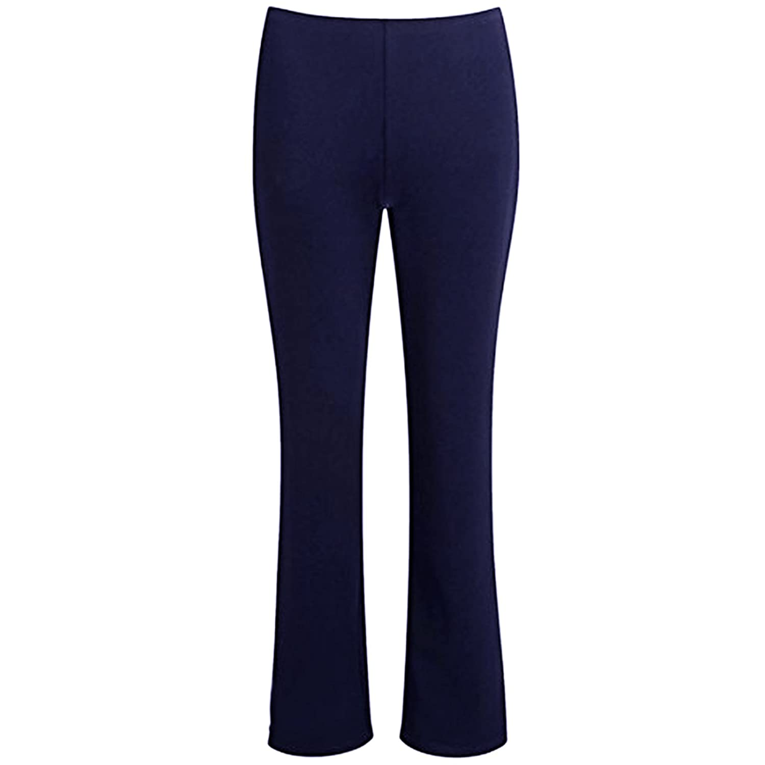 MyShoeStore Ladies Stretch Bootleg Trousers Ribbed Womens Boot Cut Elasticated Waist Pants Work Wear Pull On Boot Leg Bottoms Plus Big Sizes 8-26