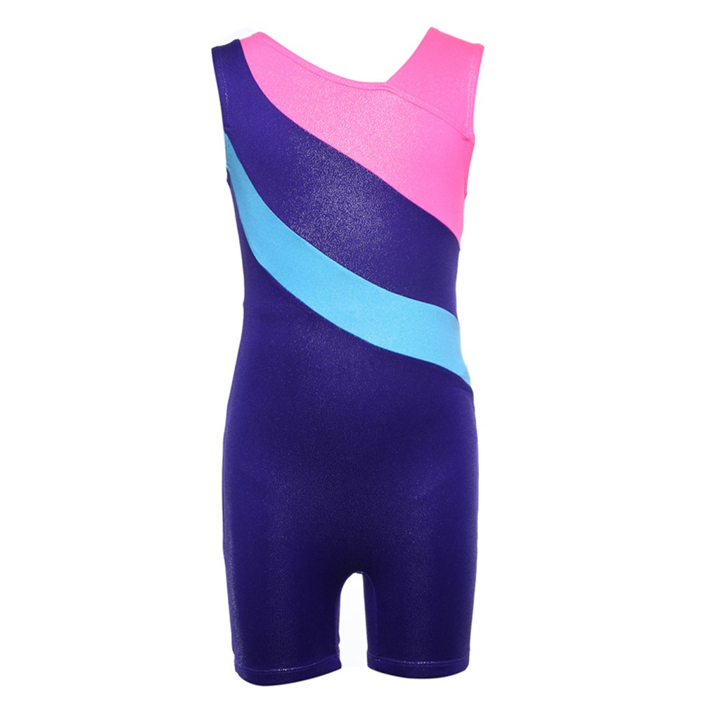 Kokkn Girls One-piece Colorful Ribbons Gymnastic Leotards Sleeveless Dance Leotards (Royal Blue, 8-9 years old) by Kokkn