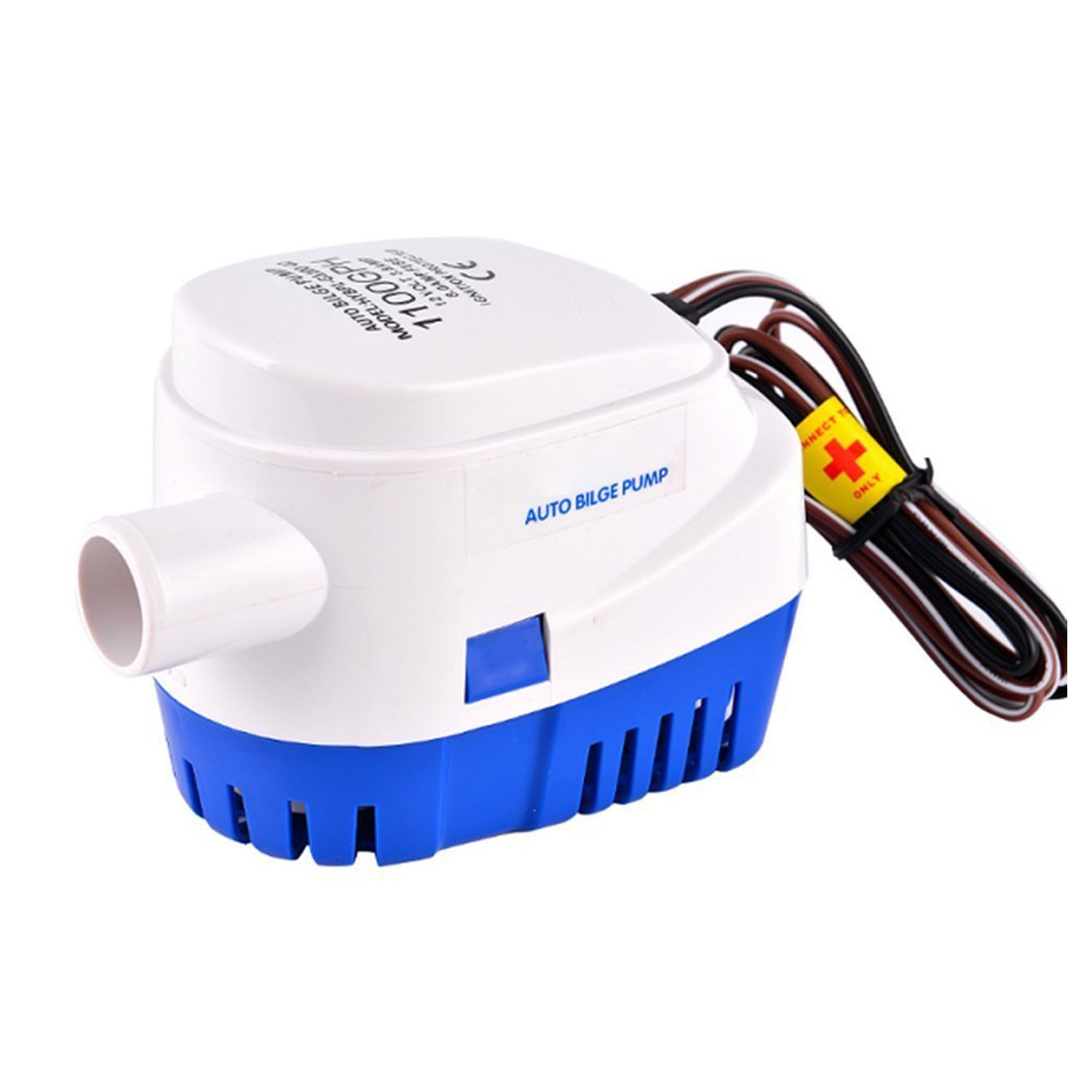 IUMÉ Boat Bilge Water Pump,Generic Automatic Submersible 12v 1100gph DC All-in-one Marine Bilge Auto Yacht with Float Switch Current 3.8A White & Blue