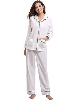 b84d6d3c60 Aibrou Damen Schlafanzug Pyjama Lang Gestreift 100% Baumwolle Winter Warm  Nachtwäsche Sleepwear mit Knöpfeleiste