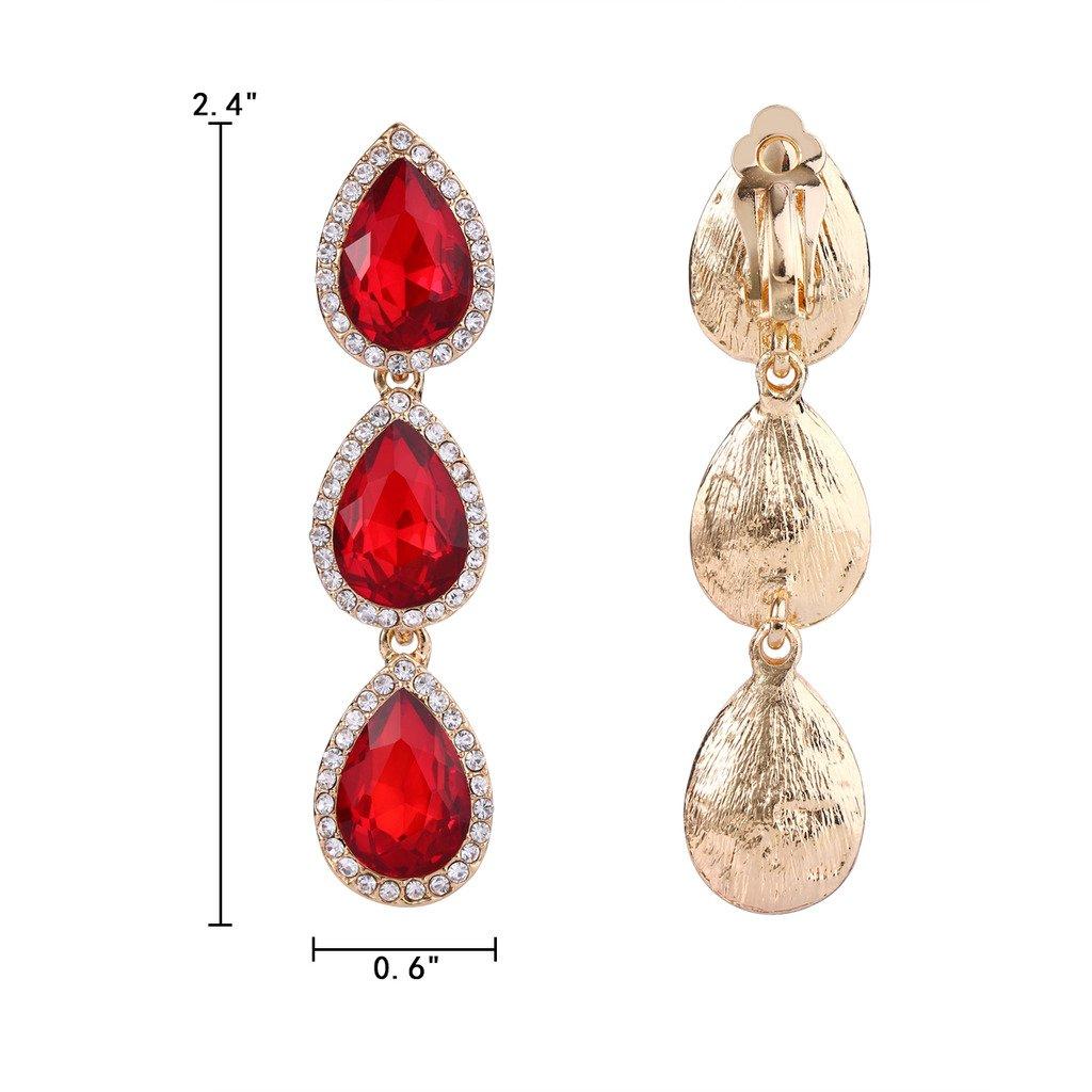 d16a54e04 EleQueen Women's Gold-tone Austrian Crystal Teardrop Pear Shape 2.4 Inch  Long Clip-on Dangle Earrings Ruby Color: Amazon.ca: Jewelry