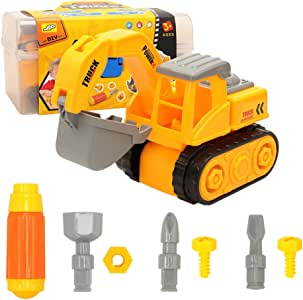 Barwa DIY Take Apart Toys for toddlers Assembly Toy Excavator with Constructions Set, Building Vehicle Truck Play Set with 2 Different Screwdriver, Ideal Educational Toy for kids Boys Girls Aged 2-7(Storage Box Include)