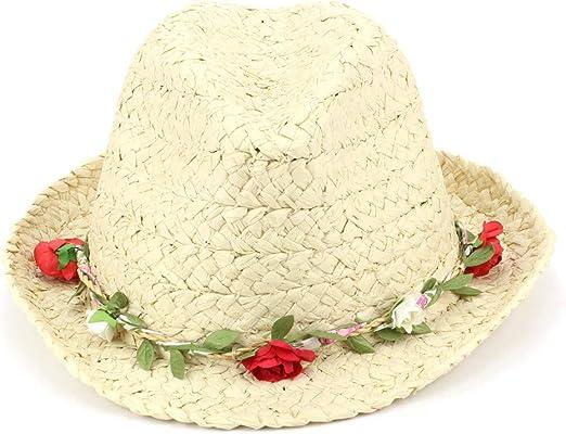 Hawkins Straw Trilby Fedora Hat with Flower Garland Band