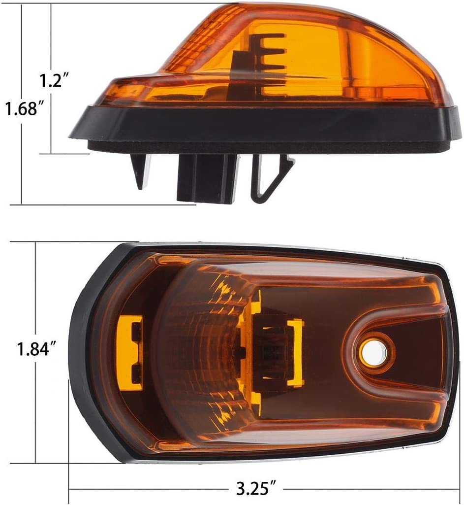 Partsam 264343AM Amber Lens Top Roof Running LED Cab Marker Lights Top Light Assembly Compatible with Ford F250 F350 F450 F550 2017 2018 2019 Super Duty Pickup 264343AM Pack of 5