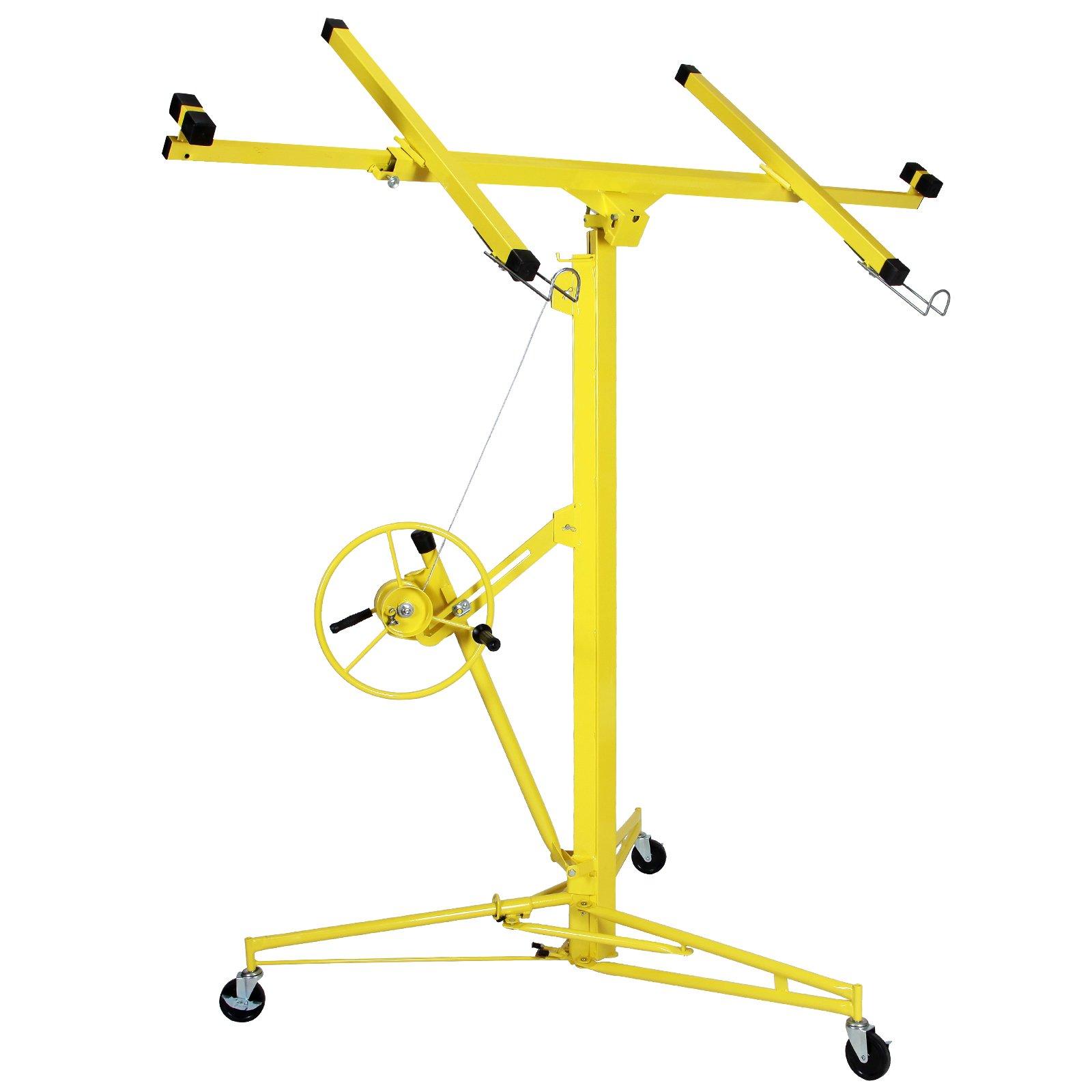 Heavy Duty Drywall & Panel Lift Hoist Professional 16-19' Jack Lifter Construction Tools Caster Lockable Yellow