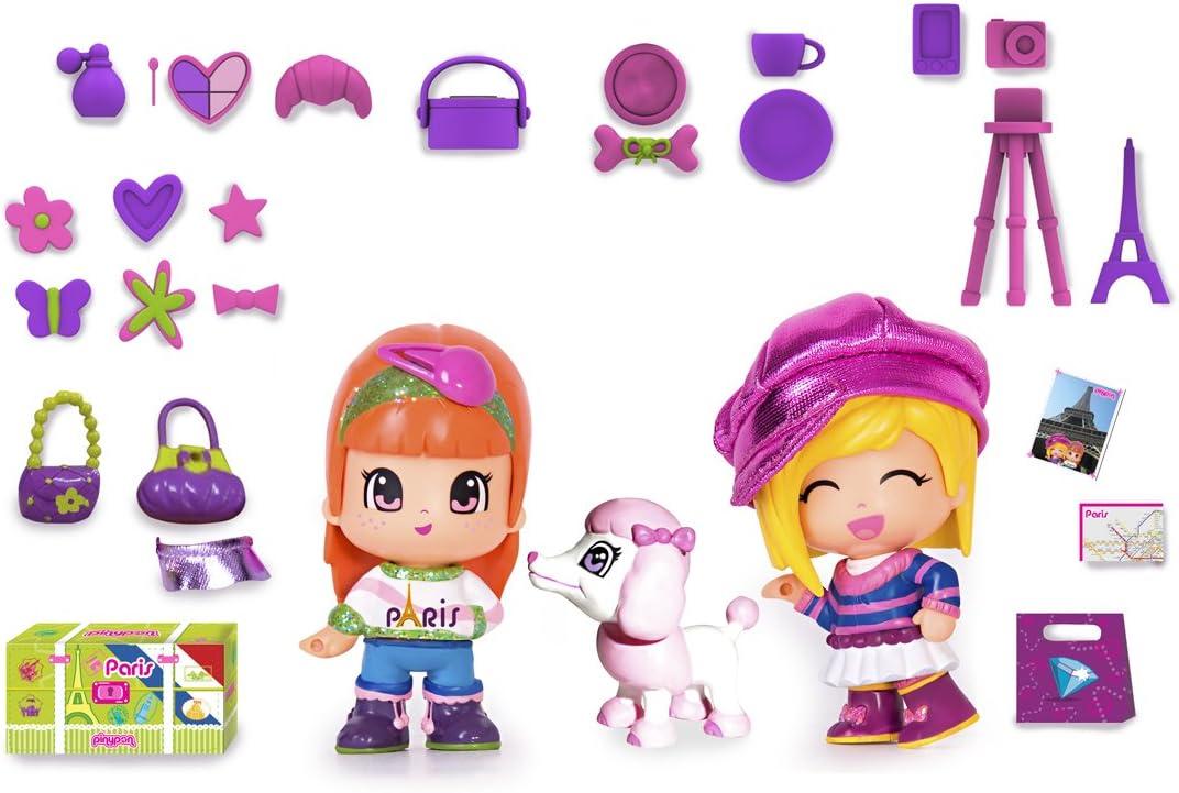 Amazon.es: Famosa Pin y Pon Gift Pack Viajes Paris - Set temático de 3 muñecos pinypon con accesorios: Juguetes y juegos