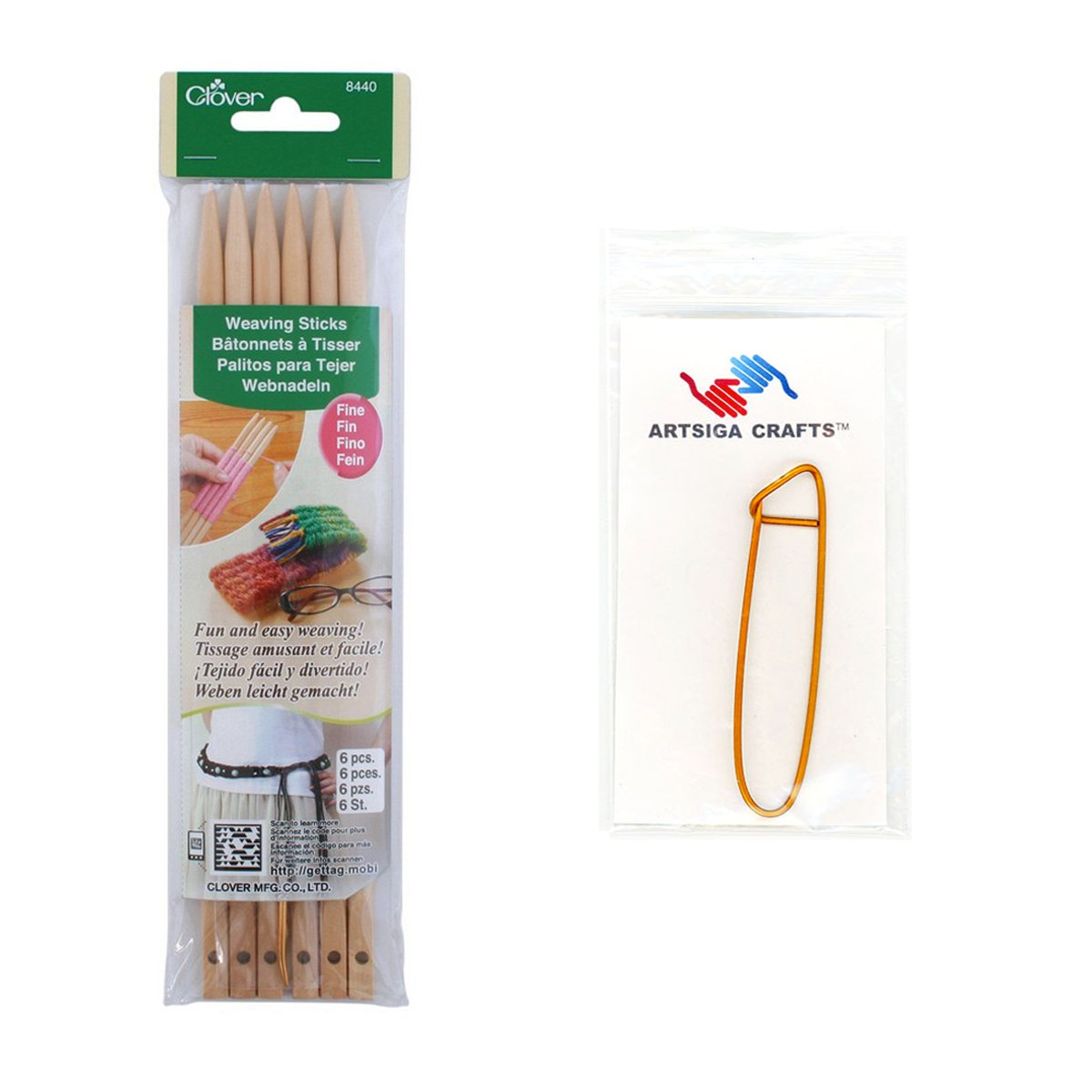 Clover Weaving Sticks-Fine Bundle with 1 Artsiga Crafts Stitch Holder 8440