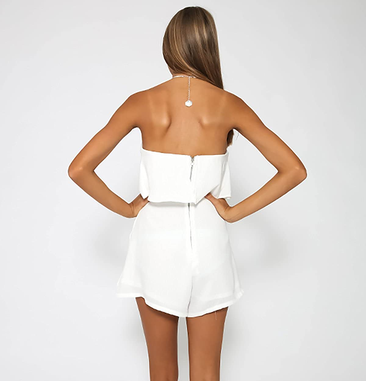 Moxeay Off-Should Sleeveless Chiffon Flounce Top Jumpsuit Romper Playsuit