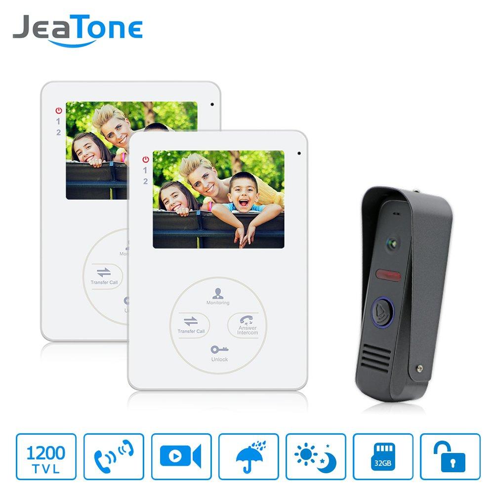 Jeatone 4'' TFT LCD Display Video Intercom Doorphone Door Intercom HD 1200TVL Outdoor Camera With 2 Indoor Monitors Interfone ¡ by Jeatone